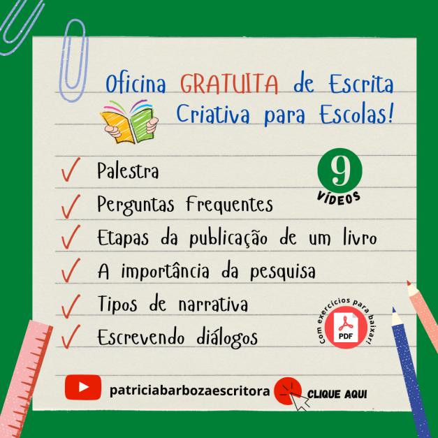 Oficina GRATUITA de Escrita Criativa para Escolas!